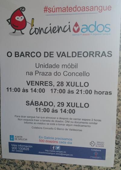 Doazón de sangue na Praza do Concello de O Barco @ Praza do Concello | El Barco de Valdeorras | Galicia | España