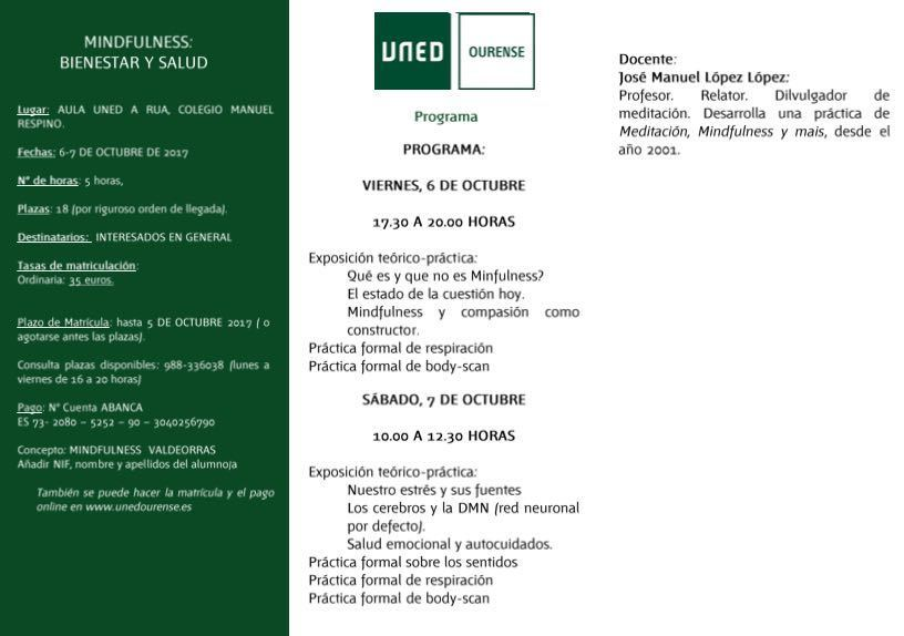 UNED A Rúa. Curso de Mindfulness @ Aula UNED. A Rúa | A Rúa | Galicia | España