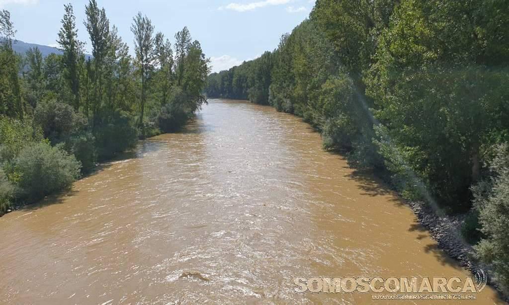 Turbidez del río Sil a su paso por O Barco el 25 de junio de 2020
